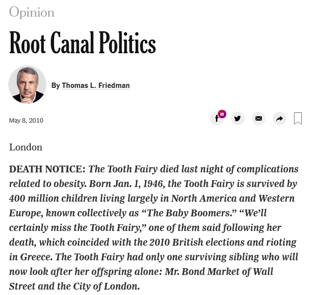 Thomas Friedman: Root Canal Politics