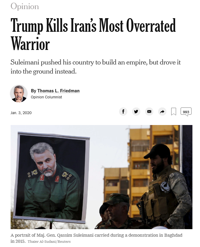 Thomas Friedman: Trump Kills Iran's Most Overrated Warrior