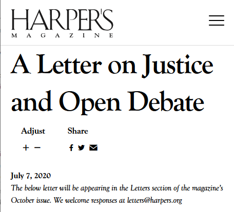 Harper's: A Letter on Justice and Open Debate