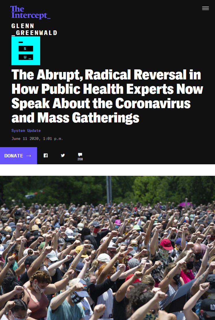Intercept: The Abrupt, Radical Reversal in How Public Health Experts Now Speak About the Coronavirus and Mass Gatherings
