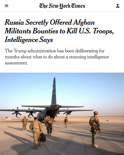 NYT: Russia Secretly Offered Afghan Militants Bounties to Kill U.S. Troops, Intelligence Says