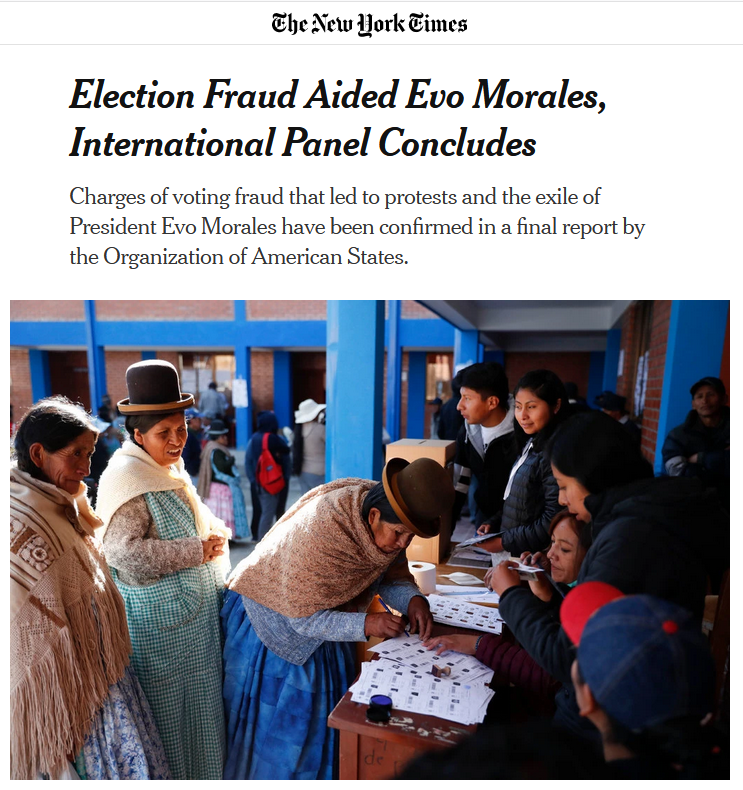 NYT: Election Fraud Aided Evo Morales, International Panel Concludes