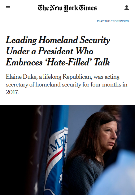 NYT: Leading Homeland Security Under a President Who Embraces 'Hate-Filled' Talk