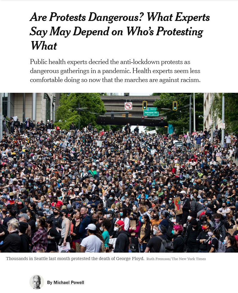 NYT: Are Protests Dangerous? What Experts Say May Depend on Who's Protesting What