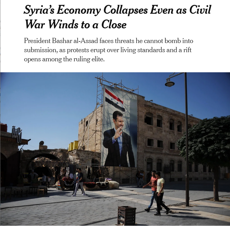 NYT: Syria's Economy Collapses Even as Civil War Winds to a Close
