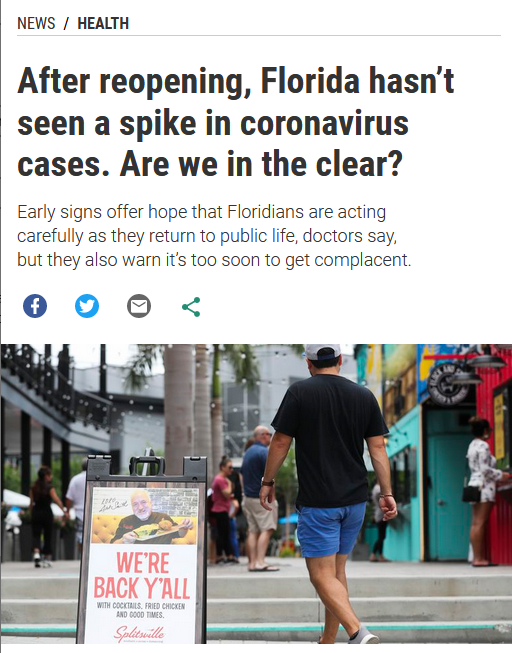 Tampa Bay Times: After reopening, Florida hasn't seen a spike in coronavirus cases. Are we in the clear?