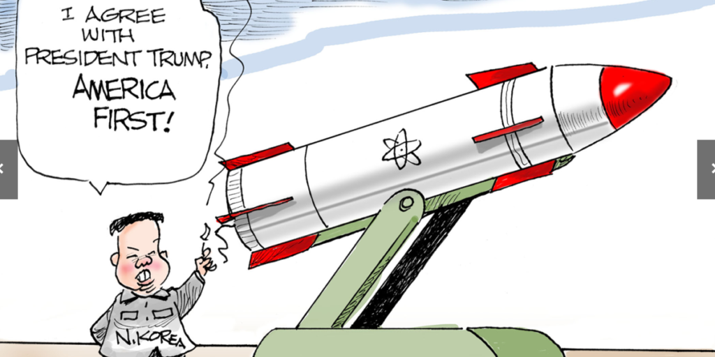 Cartoon offered by US News of North Korea launching a nuclear attack on the US