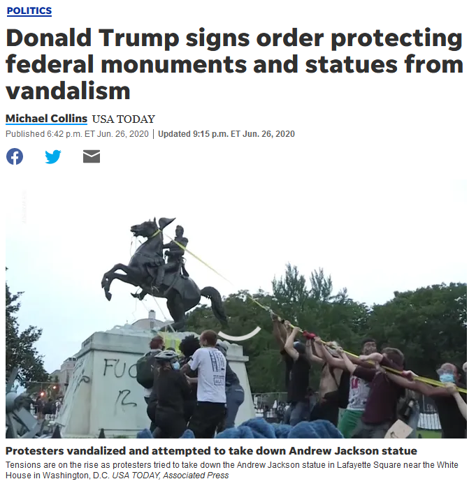 USA Today: Donald Trump signs order protecting federal monuments and statues from vandalism