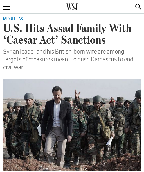 WSJ: U.S. Hits Assad Family With 'Caesar Act' Sanctions