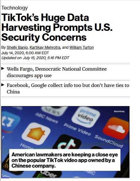 Bloomberg: TikTok's Huge Data Harvesting Prompts U.S. Security Concerns