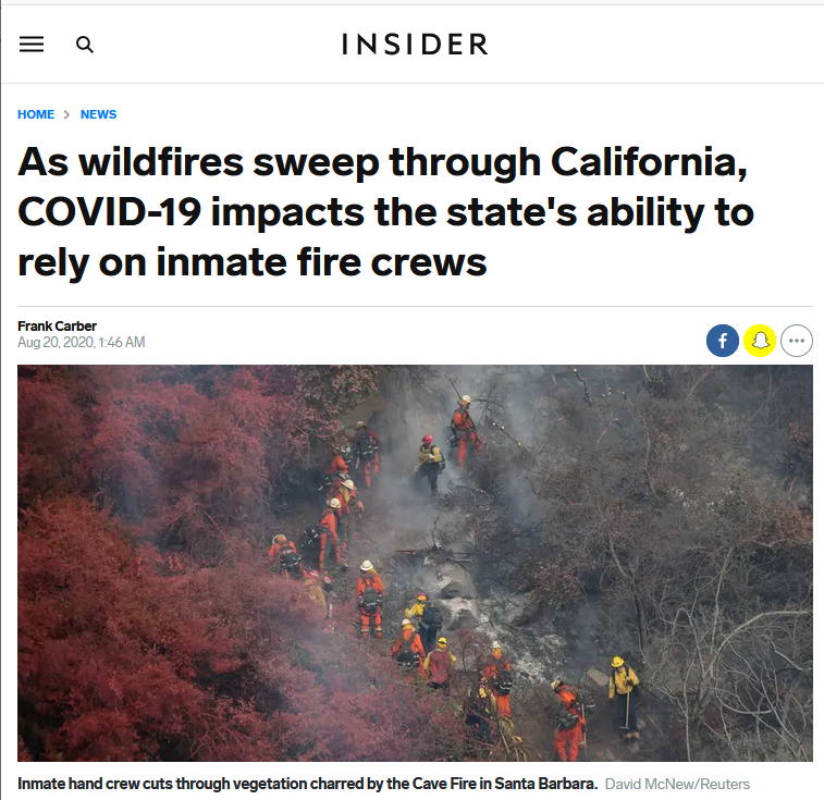 Insider: As wildfires sweep through California, COVID-19 impacts the state's ability to rely on inmate fire crews