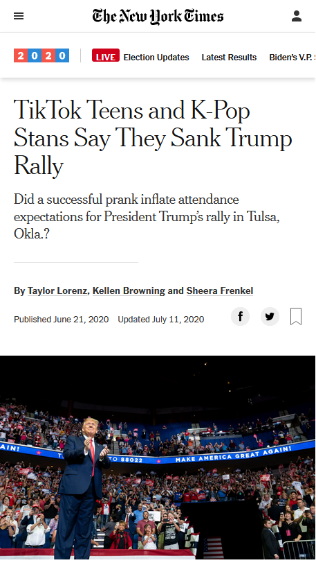 NYT: TikTok Teens and K-Pop Stans Say They Sank Trump Rally
