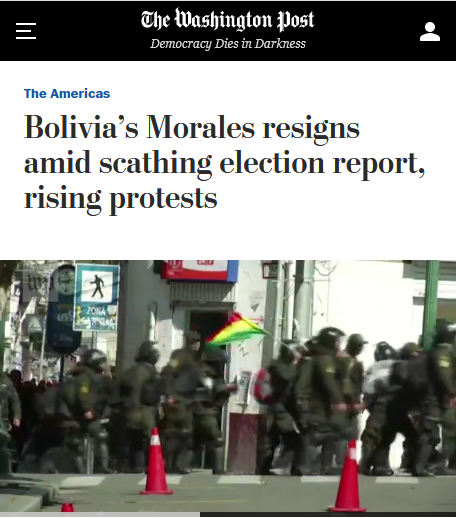 Washington Post: Bolivia's Morales resigns amid scathing election report, rising protests