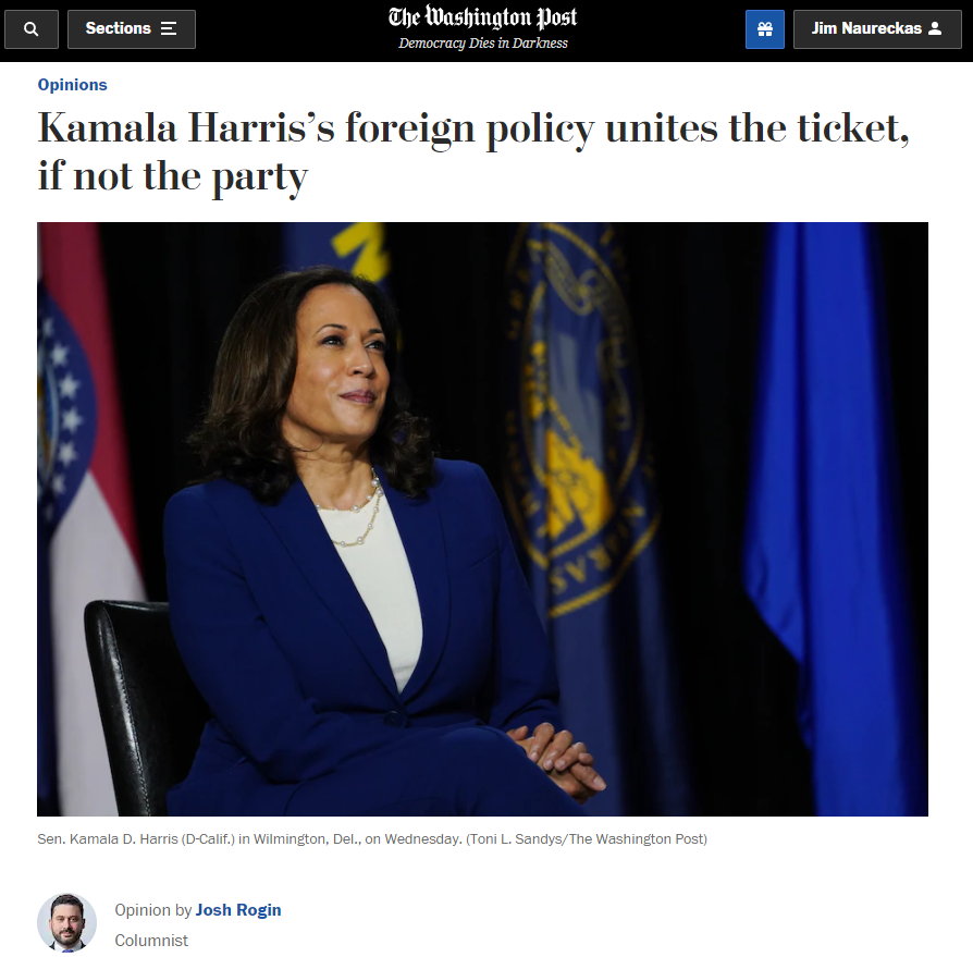 WaPo: Kamala Harris's foreign policy unites the ticket, if not the party