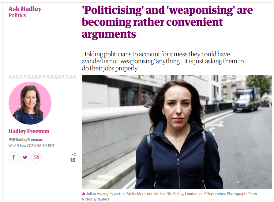 Guardian: 'Politicising' and 'weaponising' are becoming rather convenient arguments