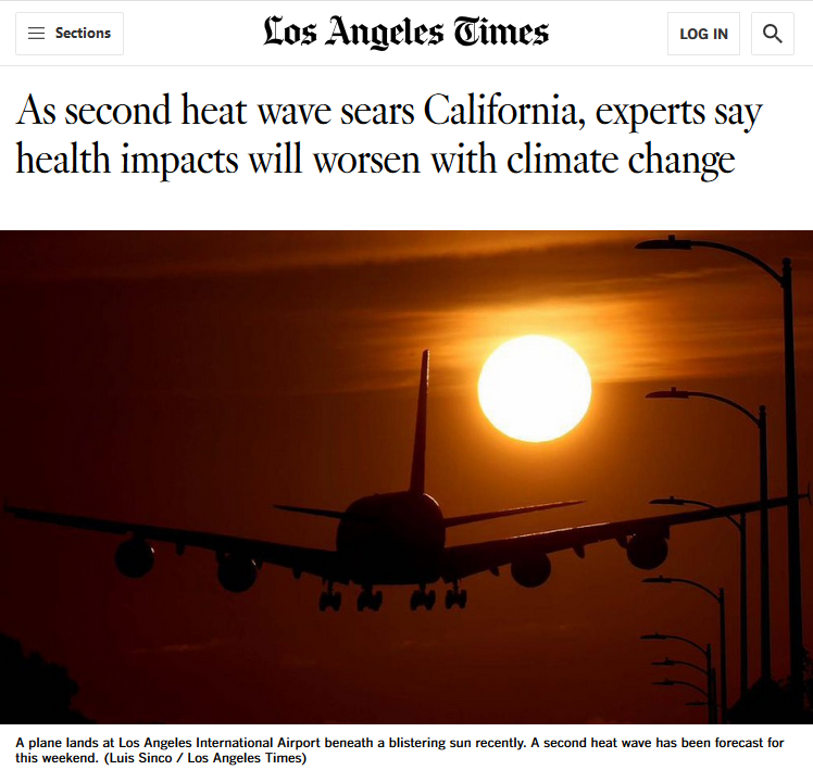 LA Times: As second heat wave sears California, experts say health impacts will worsen with climate change