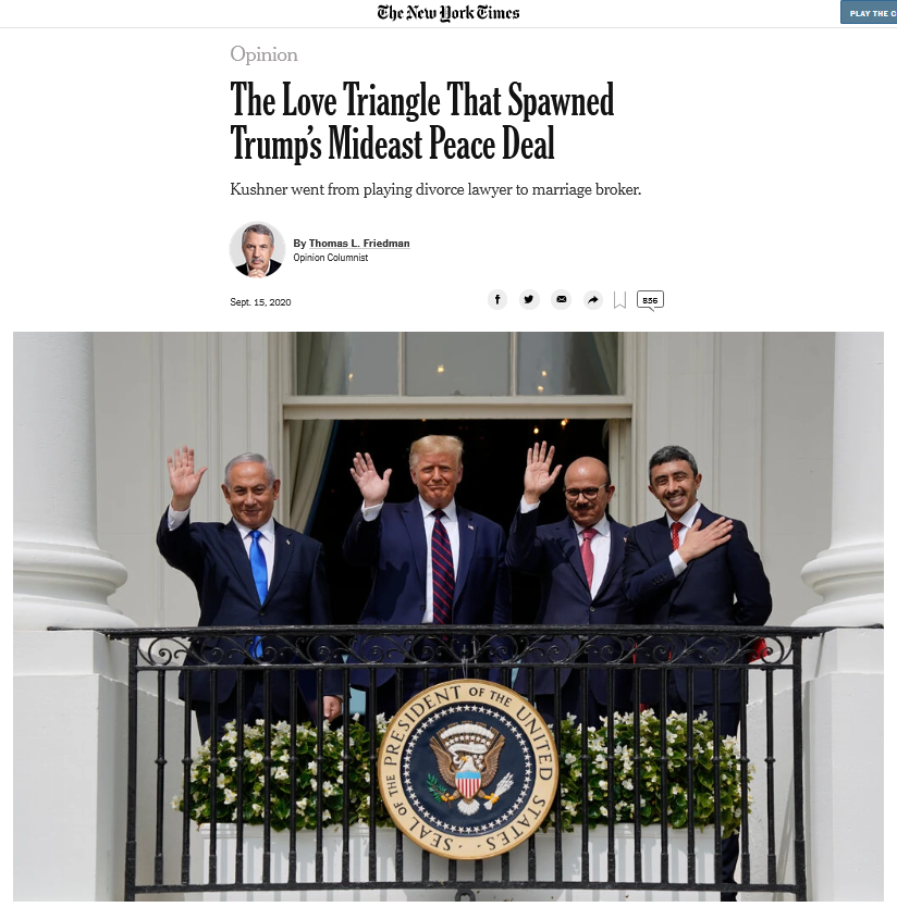 NYT: The Love Triangle That Spawned Trump's Mideast Peace Deal