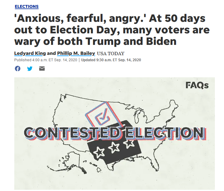 USA Today: 'Anxious, fearful, angry.' At 50 days out to Election Day, many voters are wary of both Trump and Biden