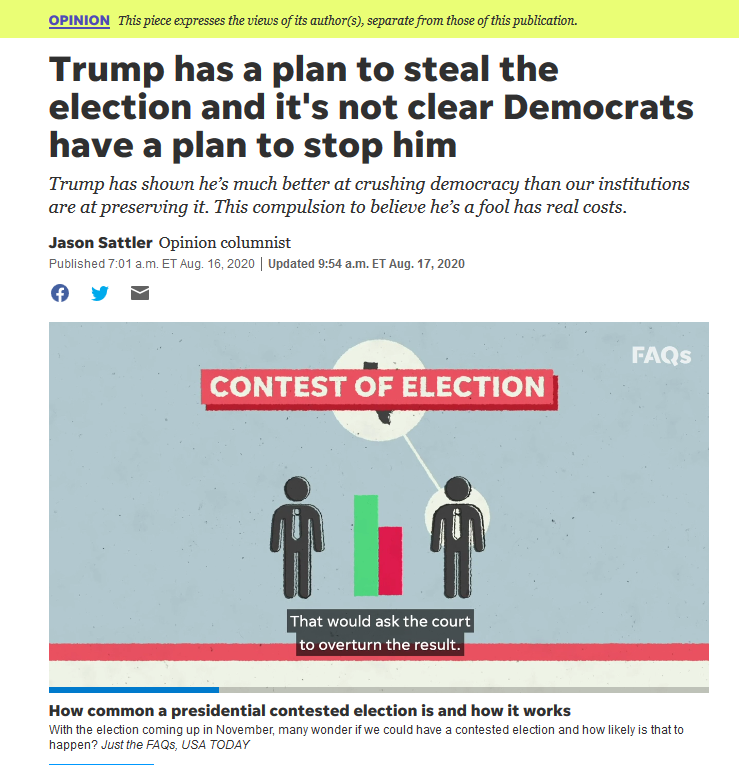 USA Today: Trump has a plan to steal the election and it's not clear Democrats have a plan to stop him