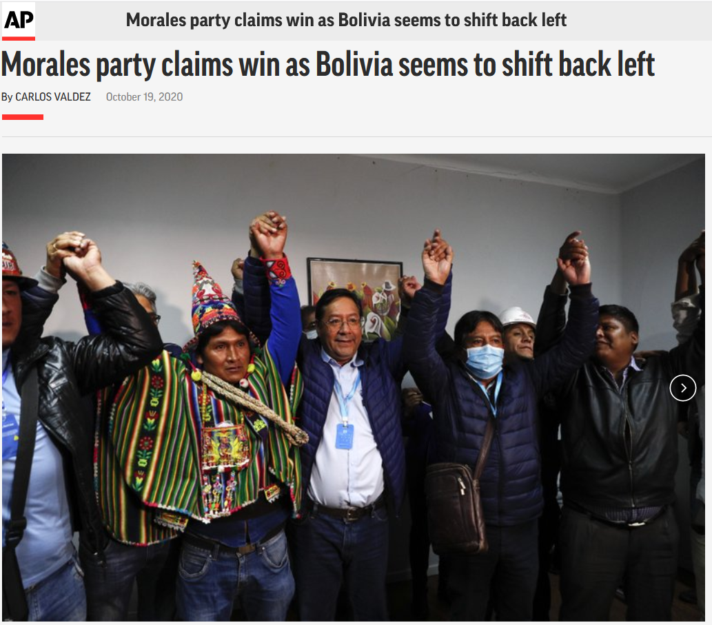 AP: Morales party claims win as Bolivia seems to shift back left