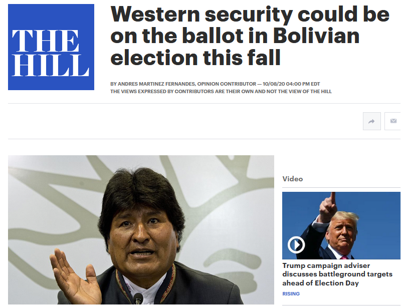 The Hill: Western security could be on the ballot in Bolivian election this fall