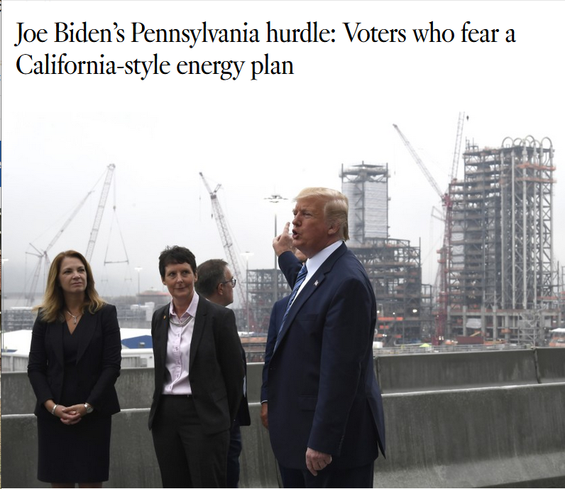 LA Times: Joe Biden's Pennsylvania hurdle: Voters who fear a California-style energy plan