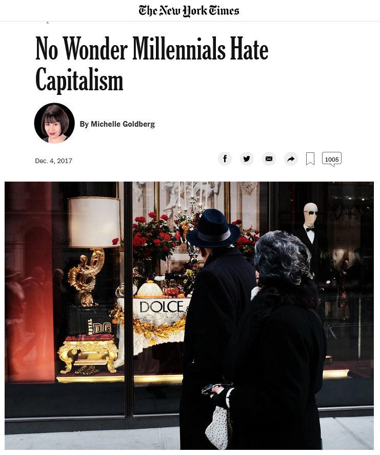 NYT: No Wonder Millennials Hate Capitalism