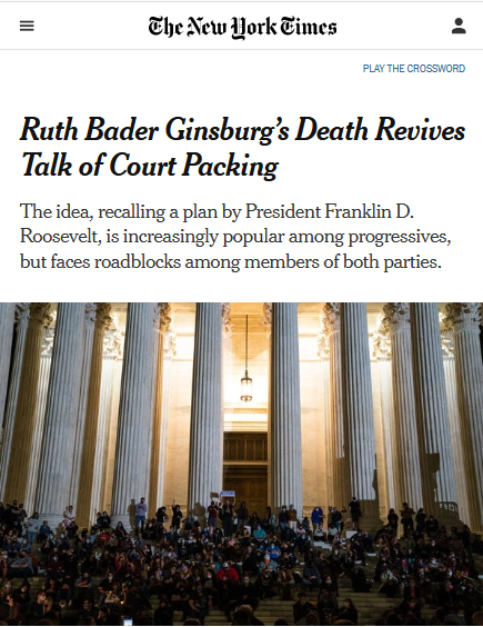NYT: Ruth Bader Ginsburg's Death Revives Talk of Court Packing