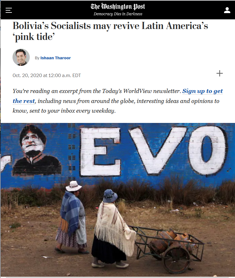 WaPo: Bolivia's Socialists may revive Latin America's 'pink tide'