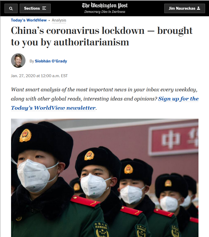 WaPo: China's coronavirus lockdown — brought to you by authoritarianism