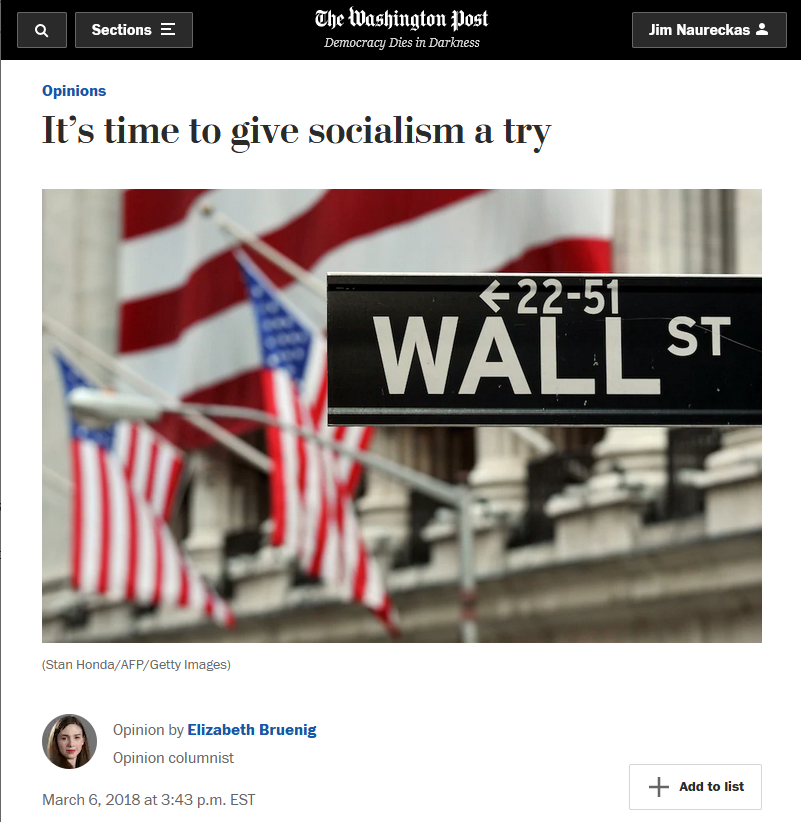 WaPo: It's time to give socialism a try