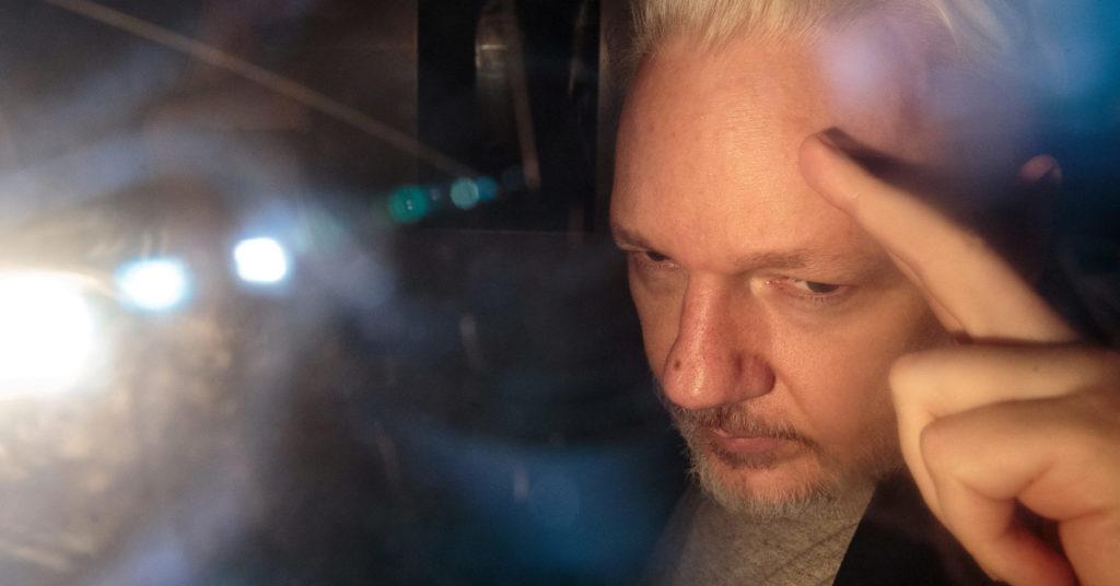 Julian Assange leaving court in 2019 (photo: Jack Taylor/Gerry Images)