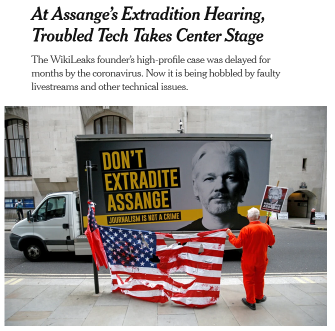 NYT: At Assange's Extradition Hearing, Troubled Tech Takes Center Stage