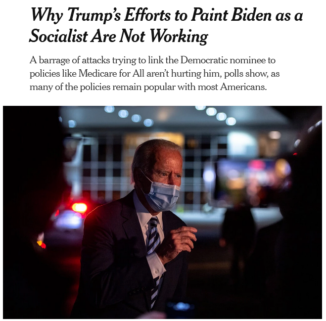 NYT: Why Trump's Efforts to Paint Biden as a Socialist Are Not Working
