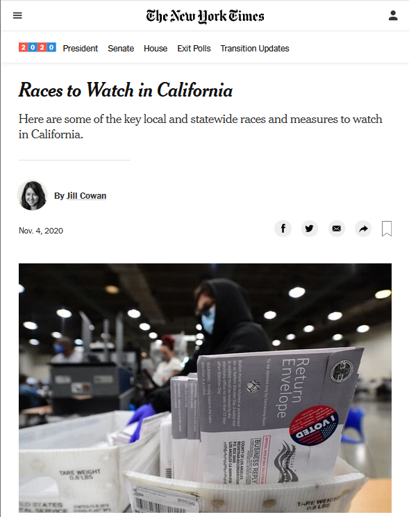 New York Times: Races to Watch in California