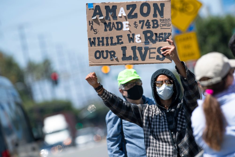 Amazon worker protesting lack of protection