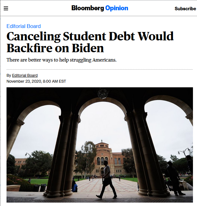 Bloomberg: Canceling Student Debt Would Backfire on Biden