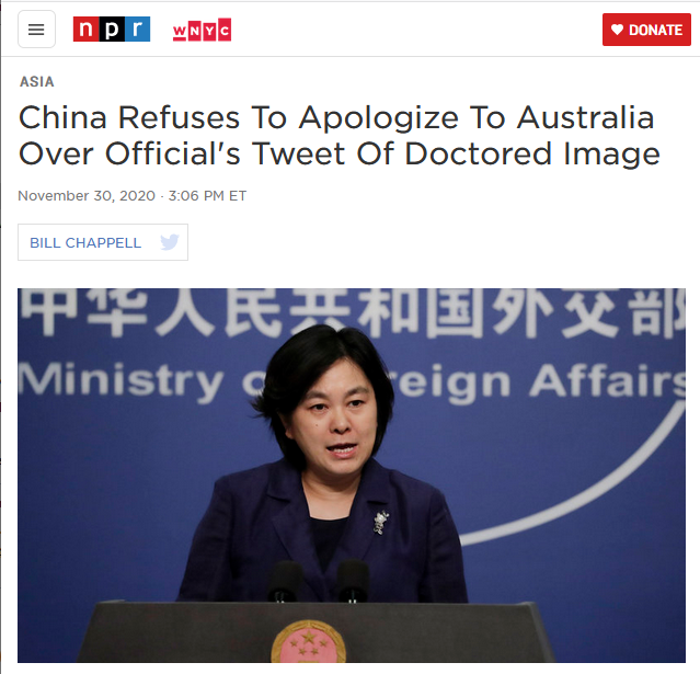 NPR: China Refuses To Apologize To Australia Over Official's Tweet Of Doctored Image