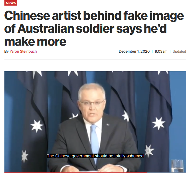 NY Post: Chinese artist behind fake image of Australian soldier says he'd make more