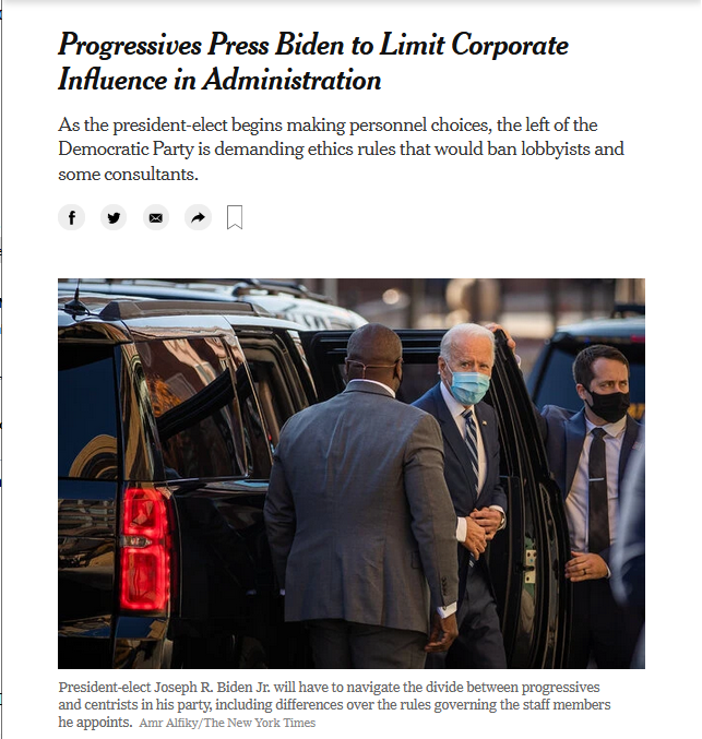 NYT: Progressives Press Biden to Limit Corporate Influence in Administration