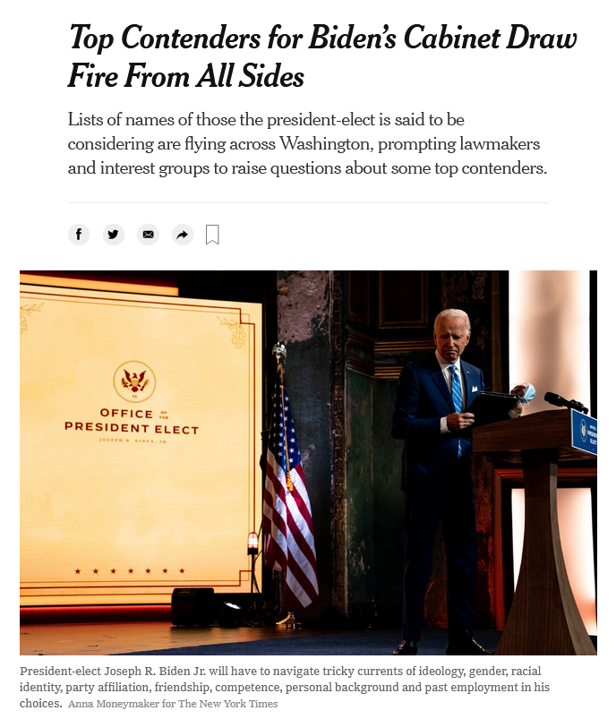 NYT: Top Contenders for Biden's Cabinet Draw Fire From All Sides