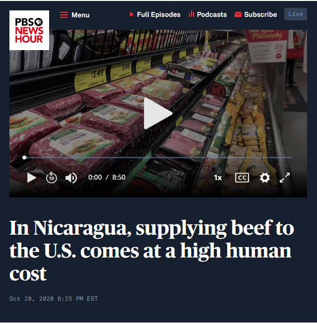 NewsHour: In Nicaragua, supplying beef to the U.S. comes at a high human cost