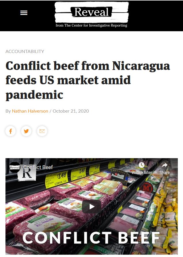 Reveal: Conflict beef from Nicaragua feeds US market amid pandemic