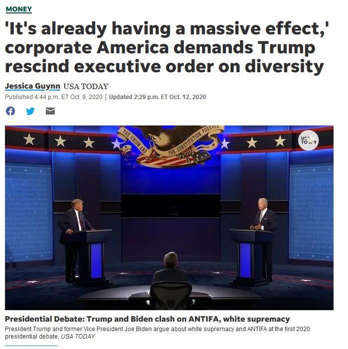 USA Today: 'It's already having a massive effect,' corporate America demands Trump rescind executive order on diversity