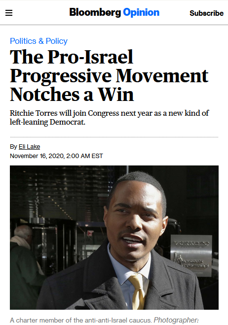 Bloomberg: The Pro-Israel Progressive Movement Notches a Win