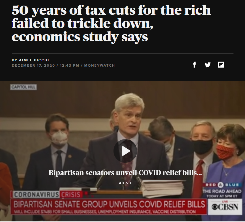 CBS: 50 years of tax cuts for the rich failed to trickle down, economics study says