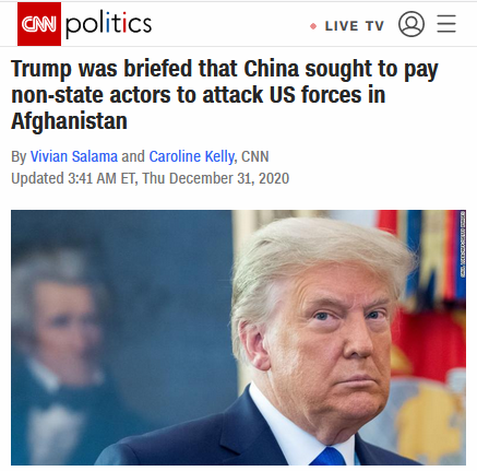 CNN: Trump was briefed that China sought to pay non-state actors to attack US forces in Afghanistan