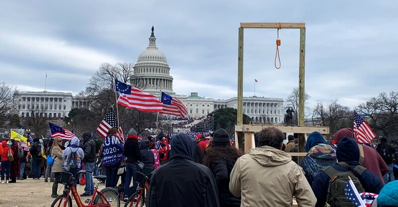 Gallows erected on Capitol Hill by pro-Trump militants