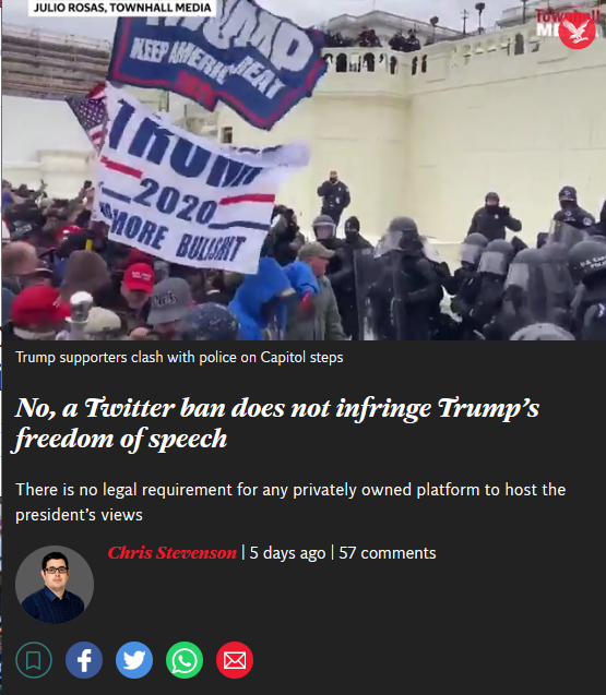 Independent: No, a Twitter ban does not infringe Trump's freedom of speech