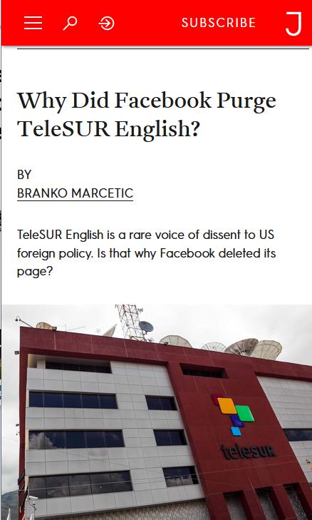 Jacobin: Why Did Facebook Purge TeleSUR English?